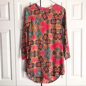 Everly Pink & Aqua Printed Long Sleeve Shift Dress
